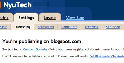 Switch to Custom Domain on Blogger