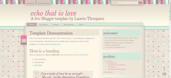 Echo thats love Blogger Template