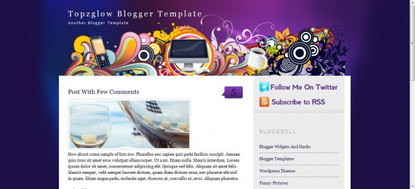 Topzglow Blogger Template