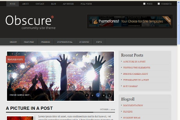 Obscure WordPress Theme