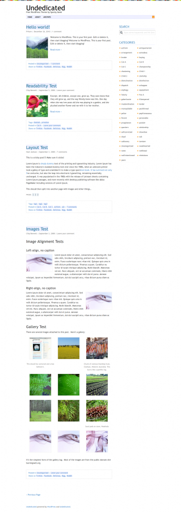Undedicated Free Minimal WordPress Theme