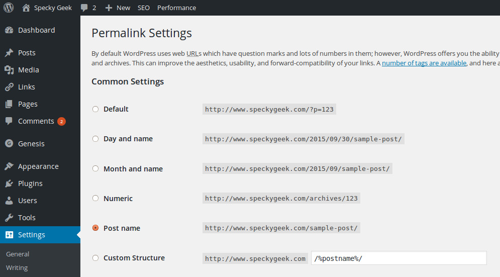 WP_Permalink_Settings
