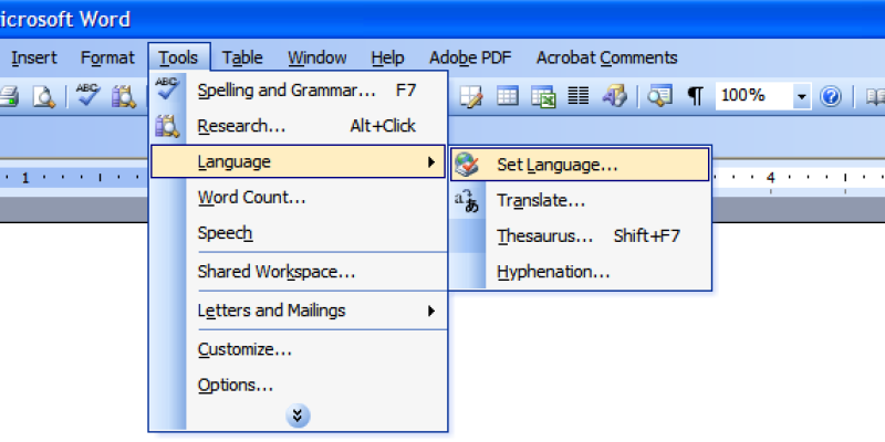 How to Set The Language in Microsoft Word?
